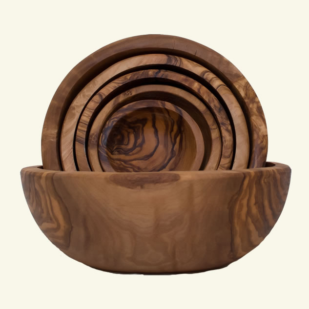 Set 6 boluri din lemn de maslin