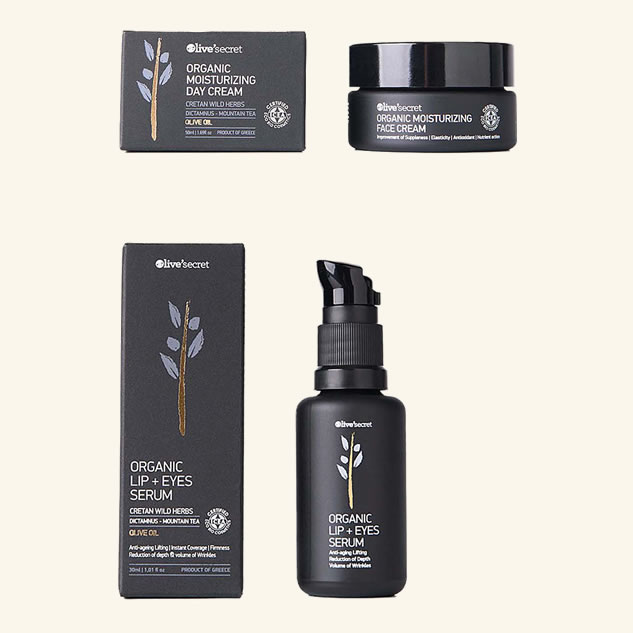 Crema organica hidratanta pentru zi + Ser organic pentru buze si ochi