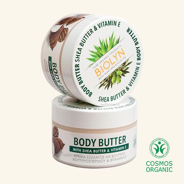 Unt organic  pentru corp cu unt de shea & ulei de masline