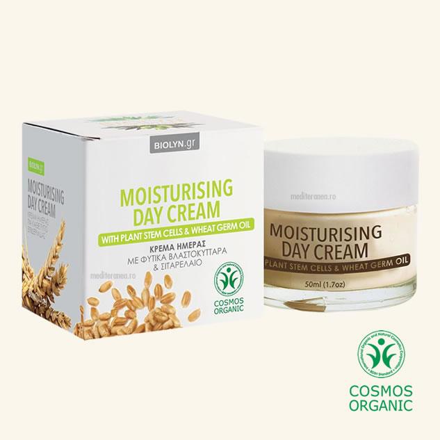 Crema organica hidratanta de zi cu celule stem din plante & ulei din germeni de grau
