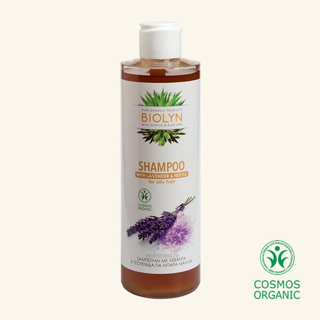 Sampon organic cu lavanda & urzica pentru parul gras