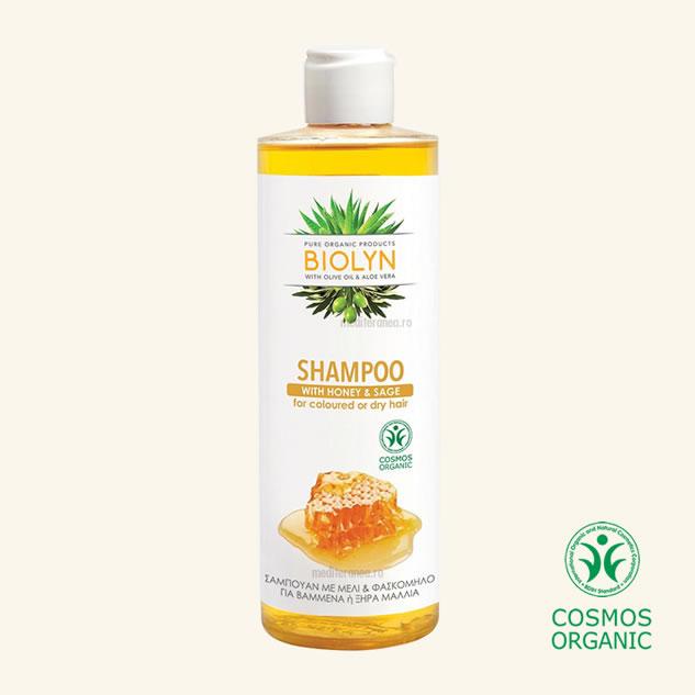 Sampon organic cu miere & salvie pentru parul colorat sau uscat