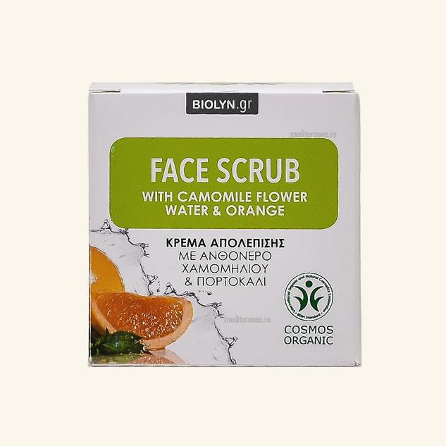 Scrub facial cu apa din floare de musetel & portocale