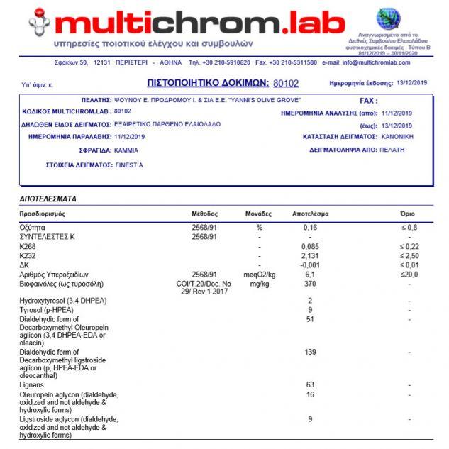 Buletin analize Ulei de masline Yannis