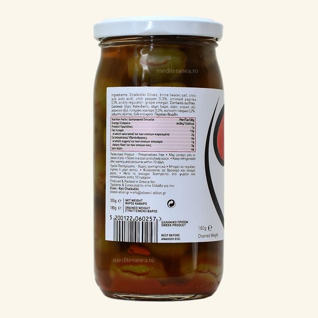 Masline verzi fara samburi marinate cu ardei iute & paprika afumata