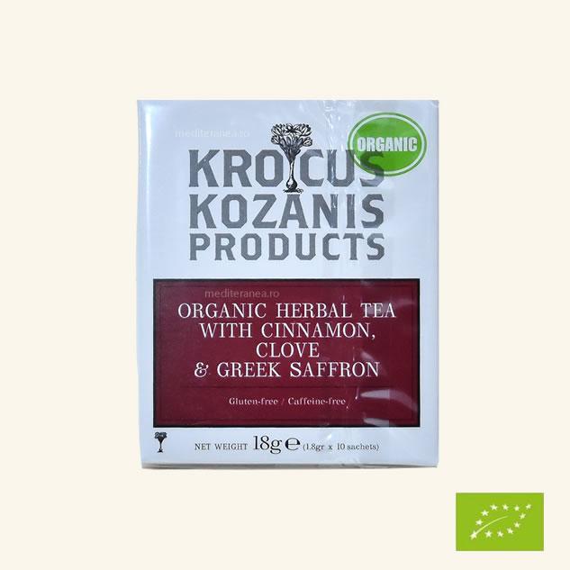 Ceai din plante cu scortisoara, cuisoare & sofran grecesc BIO