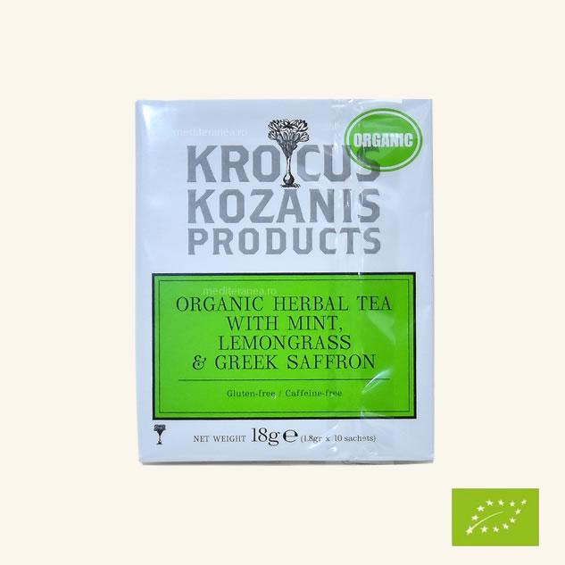Ceai din plante cu mentă, lemongrass & șofran grecesc BIO